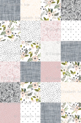 Charcoal and Blush Sprigs and Blooms Wholecloth