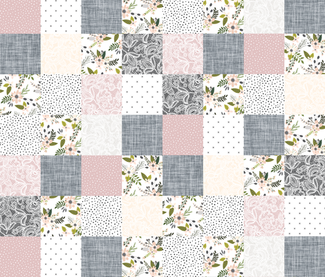 Charcoal and Blush Sprigs and Blooms Wholecloth fabric by ivieclothco on Spoonflower - custom fabric