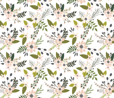 Blush and Charcoal Sprigs and Blooms // Oversized fabric by ivieclothco on Spoonflower - custom fabric