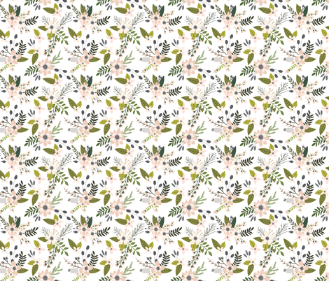 Blush and Charcoal Sprigs and Blooms fabric by ivieclothco on Spoonflower - custom fabric