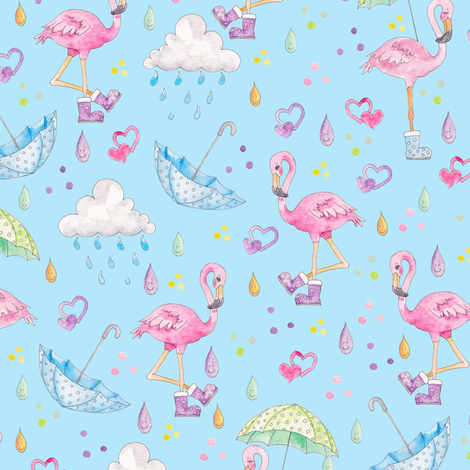Rainy Flamingo fabric by gingerlique on Spoonflower - custom fabric