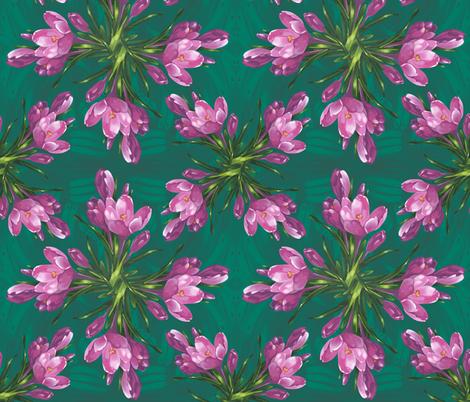 641550498 Pink Snow crocus flowers fabric by tataro on Spoonflower - custom fabric