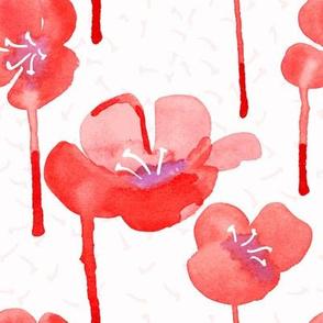 Watercolor rose flowers