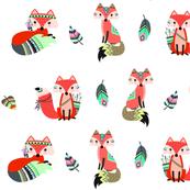 Cute tribal foxes