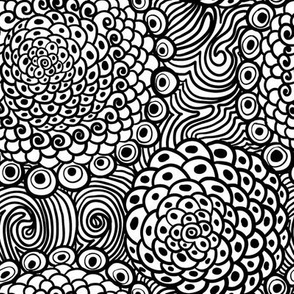 black  and white wavy abstraction