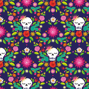 Sugar Skulls on Navy