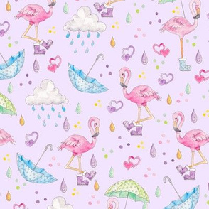 Rainy Flamingo on Purple