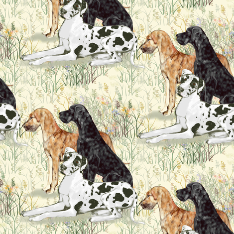 Harlequin Black and Brindle Great Danes in Wildflowers fabric by eclectic_house on Spoonflower - custom fabric
