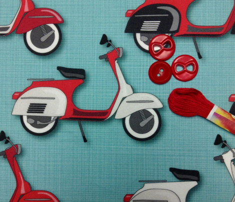 Vespas Galore *Red on Aqua