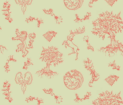 GoT Red on Green fabric by julieprescesky on Spoonflower - custom fabric