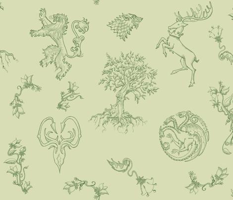 GoT Green fabric by julieprescesky on Spoonflower - custom fabric