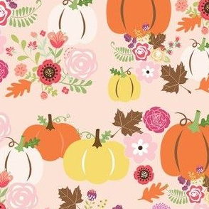 Fall pumpkin floral on pink