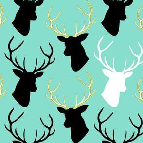 Black Gold Turquoise Deer