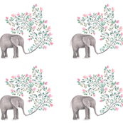 Pink Branch Floral Elephant PILLOWS