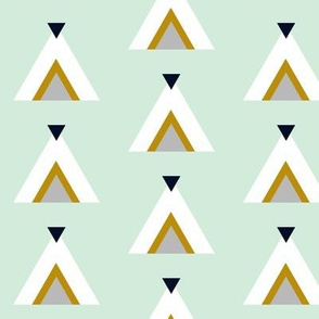 Tribal Teepees / Mint with Mustard Gray Navy