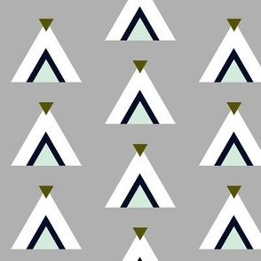 Tribal Teepees / Gray Navy Mint Olive