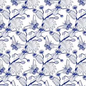 Java Fantasy Caterpillar and Butterfly Blue on White