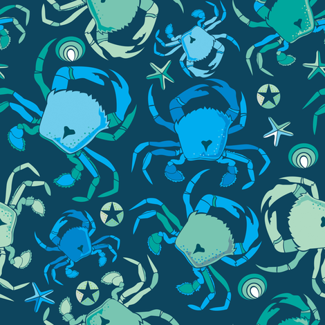 Blue crabs fabric by camcreative on Spoonflower - custom fabric