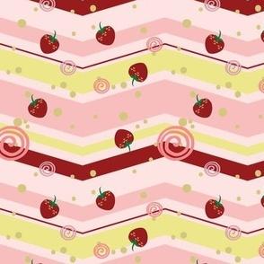 Large Strawberry Swirl Chevron Pattern