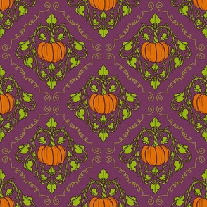 Pumpkin Damask - Purple with lines