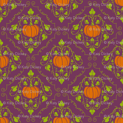 Pumpkin Damask - Purple without lines