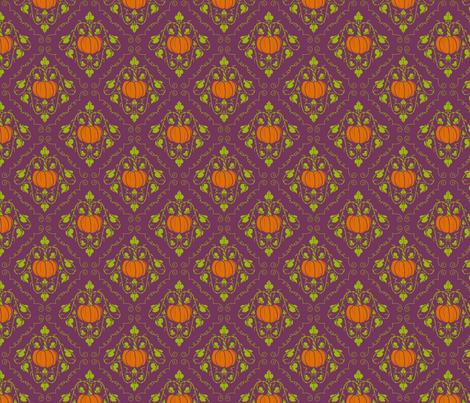 Pumpkin Damask - Purple without lines fabric by katymakesthings on Spoonflower - custom fabric