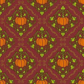 Pumpkin Damask - Red with lines