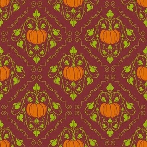 Pumpkin Damask - Red without lines
