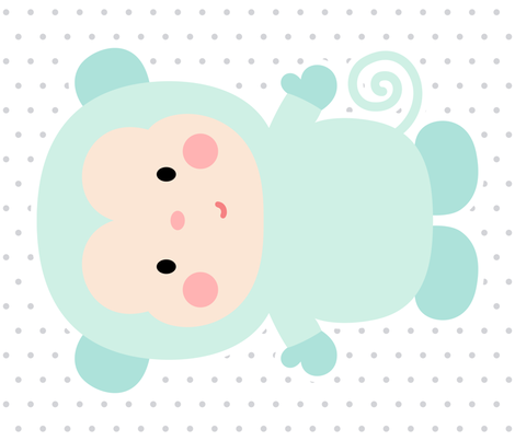 monkey mint front mod baby » plush + pillows // one yard fabric by misstiina on Spoonflower - custom fabric