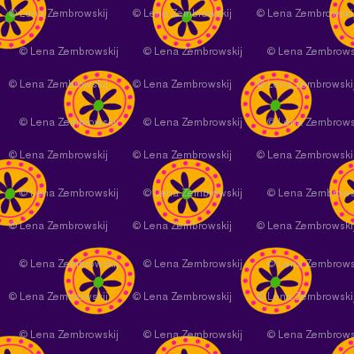 Boho Polkadots Purple Yellow