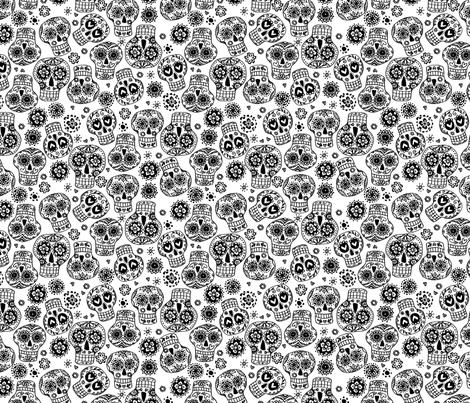 sugar skulls 1 fabric by laura_may_designs on Spoonflower - custom fabric