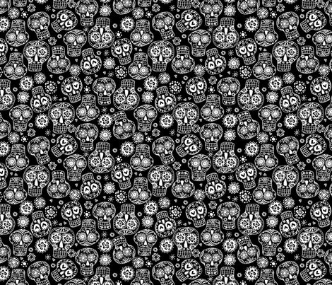 sugar skulls 2 fabric by laura_may_designs on Spoonflower - custom fabric