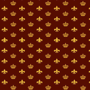 Red and Gold Crowns and Fleur De Lis