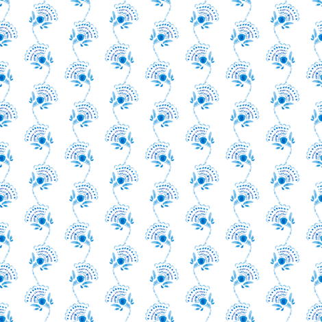 Blue water-colour flower fabric by magic_pencil on Spoonflower - custom fabric