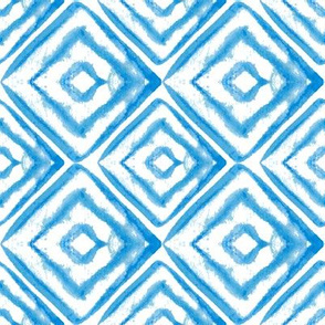Blue and white geometry in watercolor