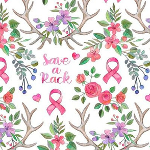 Save a Rack - antlers and watercolor flowers on white