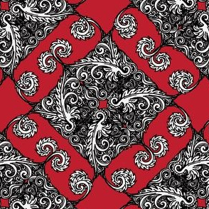 Black white and red paisley vintage