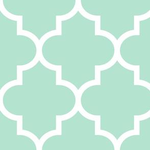 quatrefoil XL mint green