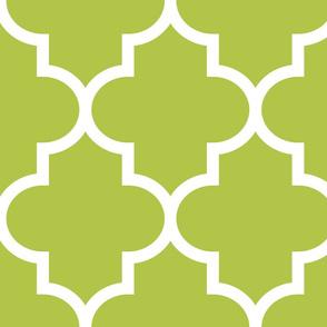 quatrefoil XL lime green