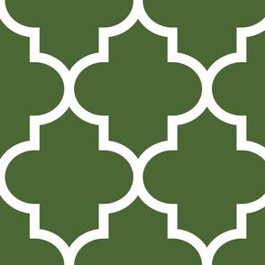 quatrefoil XL hunter green