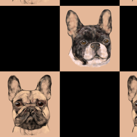 French Bulldog Checkerboard fabric by eclectic_house on Spoonflower - custom fabric