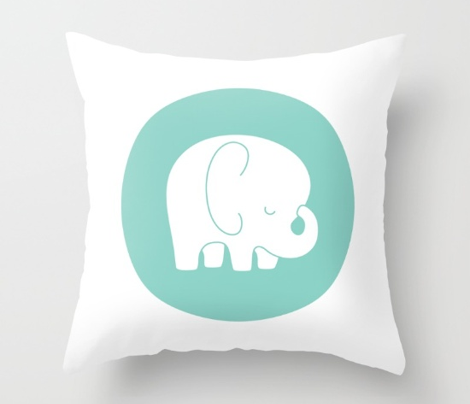 sleepy elephant mint mod baby » plush + pillows // fat quarter