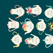 2017 Teapots Tea Towel Calendar