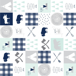 Buffalo Wholecloth Quilt Cheater Quilt in Navy + Mint + Grey Baby Boy Blanket