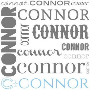 Personalized Connor in Light Blue and Gray