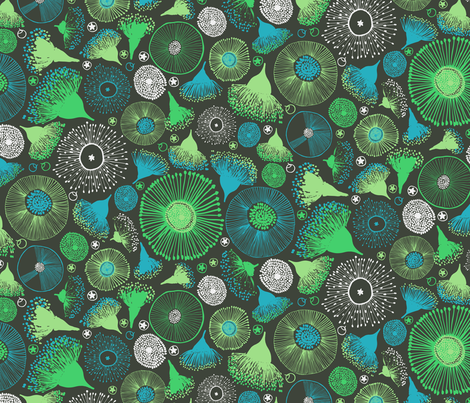 Gum Nut Cool Green fabric by zoe_ingram on Spoonflower - custom fabric