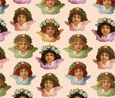 Pastel Victorian Cherub Repeat in Sweet Peach fabric by elliottdesignfactory on Spoonflower - custom fabric