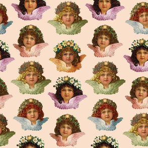 Pastel Victorian Cherub Repeat in Sweet Peach