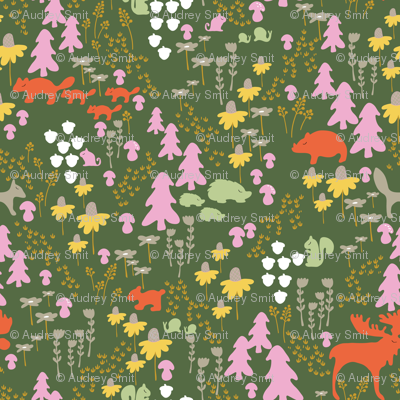 Whimsical woodland in green