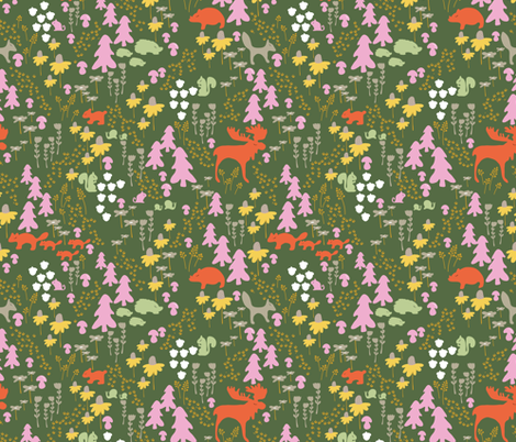 Whimsical woodland in green fabric by thislittlestreet on Spoonflower - custom fabric